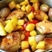Pollo a la Cazuela con Pimientos