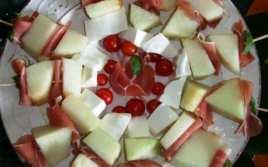 Bochetas de Melón, Jamón y Cherrys