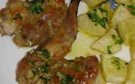 Conejo Asado Al Horno Con Patatas