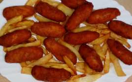 Croquetas de Gambas con Patatas Fritas