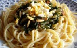 Espaguetis con Acelgas y Huevo