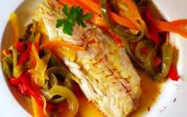 Lomos de Lubina con Verduras al Azafrán