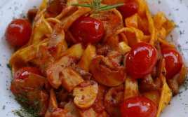 Pasta con Champiñones y Tomates Cherrys