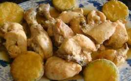 Pollo Al Coñac Con Calabacín Rebozado
