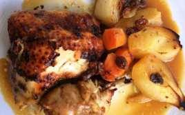 Pollo con Peras y manzanas al Horno