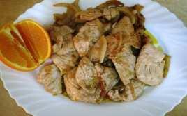Solomillo de Pavo con Cebolla y Naranja