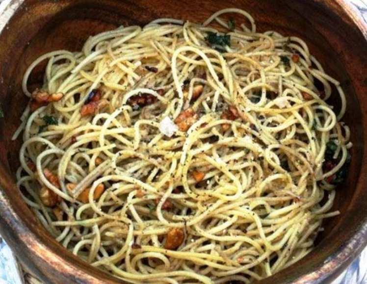 Espaguetis al Limón con Nueces