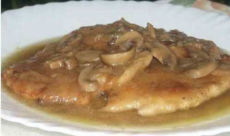 Filetes De Pollo A La Sidra Con Champiñón
