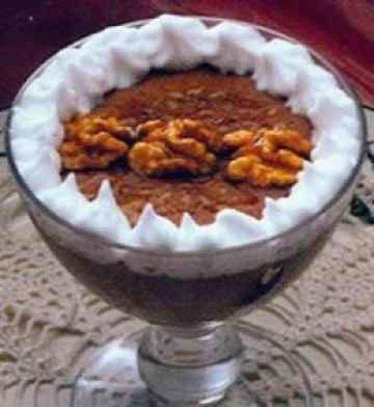 Mousse De Chocolate Y Nata Con Nueces