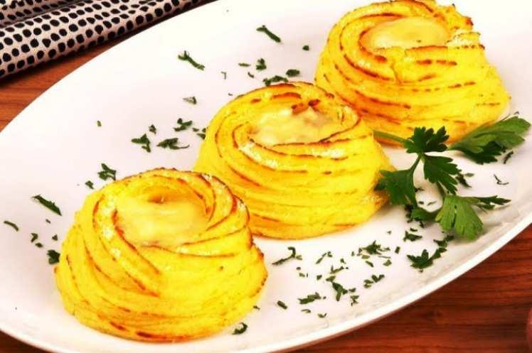 Nidos de Patata con Queso y Beicon