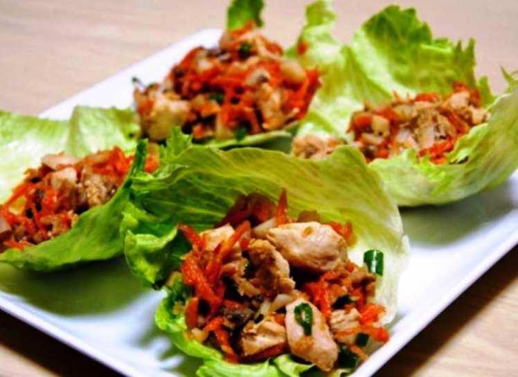 Tacos de Lechuga con Pollo