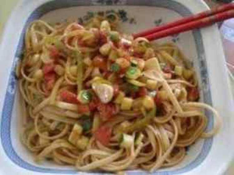 Tallarines Con Carne Y Verduras
