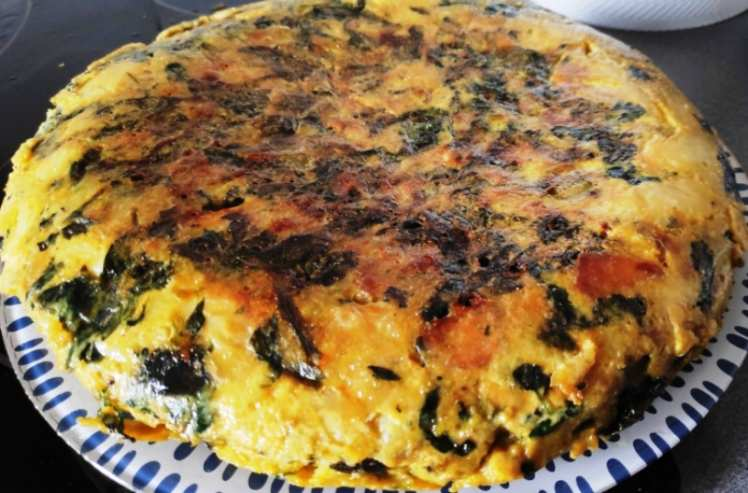 Tortilla de Espinacas, Cebolla y Pimiento
