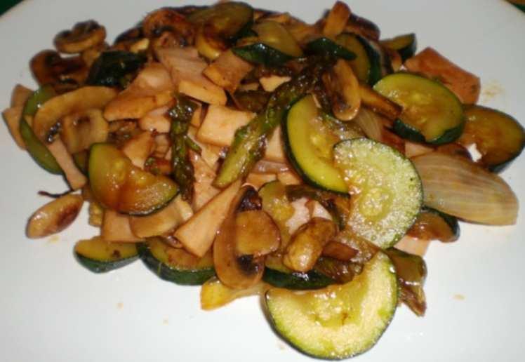 Wok de Verduras con Fiambre de Pavo